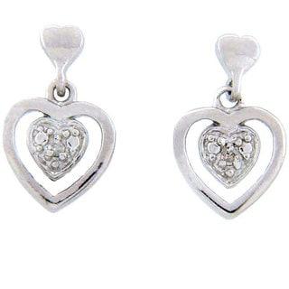 Finesque Sterling Silver Diamond Accent Heart Earrings (J-K, I3)