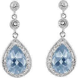 Sterling Silver Created Blue Spinel 1/10ct TDW Diamond Earrings
