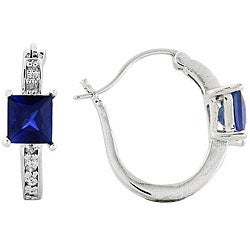Sterling Silver Created Sapphire 1/10ct TDW Diamond Earrings