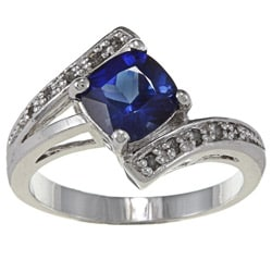 Sterling Silver Created Sapphire and 1/10ct TDW Diamond Ring