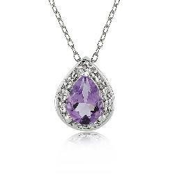 Sterling Silver Amethyst and 1/10ct TDW Diamond Necklace (I-J, I3)