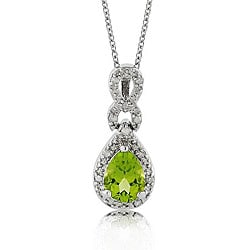 Sterling Silver Peridot and 1/10ct TDW Diamond Necklace