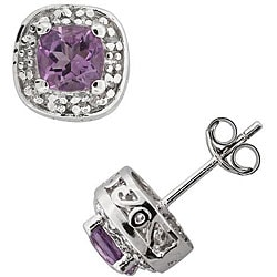 Sterling Silver Amethyst and 1/10ct TDW Diamond Earrings
