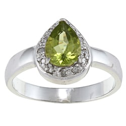 Sterling Silver Peridot and 1/10ct TDW Diamond Teardrop Ring