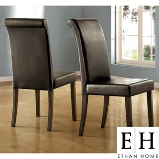 ETHAN HOME Dorian Black Faux Leather Upholstered Dining Chair (Set of 2)