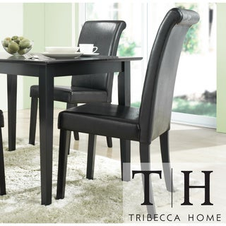 TRIBECCA HOME Dorian Black Faux Leather Upholstered Dining Chair (Set of 2)