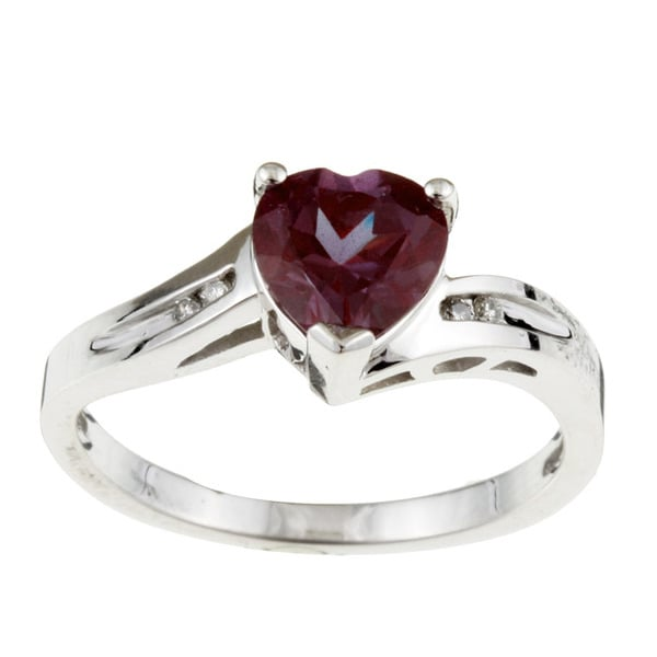 Sofia 10k White Gold Created Alexandrite and Diamond Heart Ring