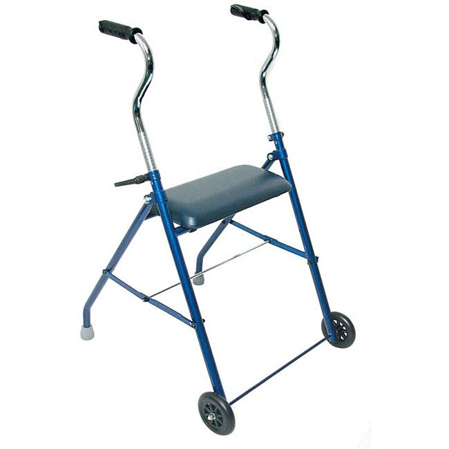 Mabis Royal Blue Steel Walker with Wheels and Seat
