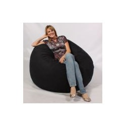 FufSack Large 5-foot Black Microsuede Lounge Chair