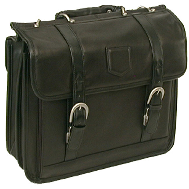 Stebco Black Premium Soft Leather Laptop Briefcase