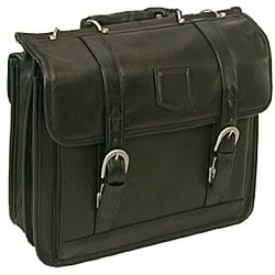 Stebco Black Premium Soft Leather Laptop Briefcase