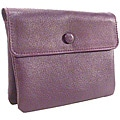 Leather 3-pouch Purple Zippered Jewelry Travel Case