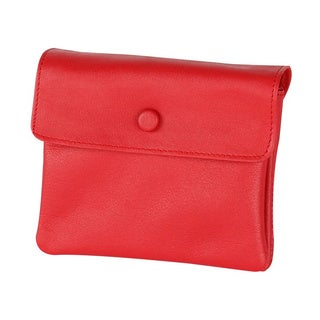 Leather 3-pouch Red Zippered Jewelry Travel Case