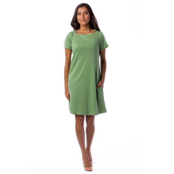 AtoZ Women's Gathered Boat-neck Dress