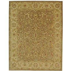 Handmade Antiquities Treasure Brown/ Gold Wool Rug (12' x 15')