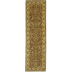 Handmade Antiquities Treasure Brown/ Gold Wool Runner (2'3 x 16')