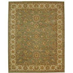 Handmade Antiquities Gem Green Wool Rug (12' x 15')