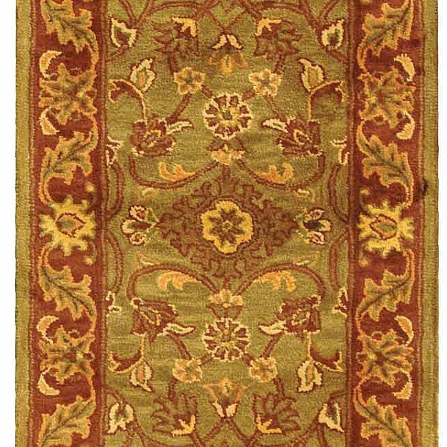 Safavieh Handmade Golden Jaipur Green/ Rust Wool Runner (2'3 x 14')