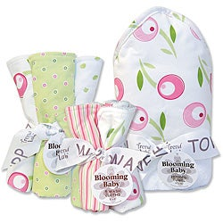 Trend Lab Tulip-themed Hooded Towel, Wash Cloths and Burp Cloths