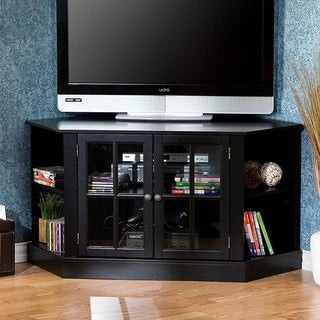 Upton Home Crescent Black Corner Media Stand