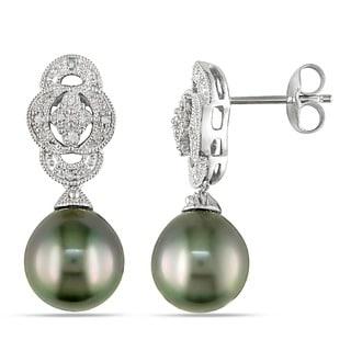 Miadora Silver Black Tahitian Pearl and Diamond Art Deco Earrings (9-10 mm)
