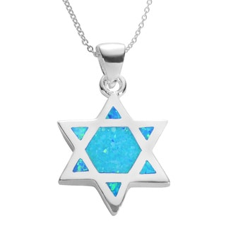 Journee Collection Sterling Silver and Created Blue Opal 'Star of David' Necklace