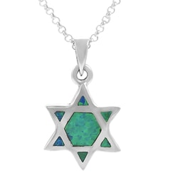 Tressa Sterling Silver and Created Blue Opal 'Star of David' Necklace