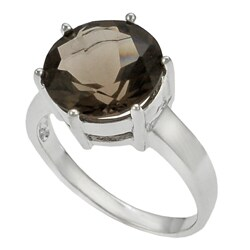 Tressa Sterling Silver Round Smokey Quartz Solitaire Ring