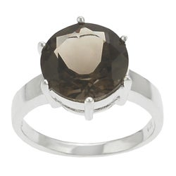 Tressa Sterling Silver Round Smokey Quartz Solitaire Ring