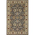 Hand-tufted Coliseum Gray Traditional Border Wool Rug (4' x 6')