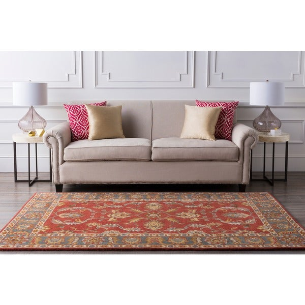 Hand-tufted Coliseum Rust Traditional Border Wool Rug (4' x 6')