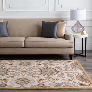 Hand-tufted Coliseum Beige Floral Wool Area Rug (8' x 11')