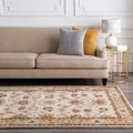 Hand-tufted Traditional Coliseum Vanilla Floral Border Wool Rug (7'6 x 9'6)