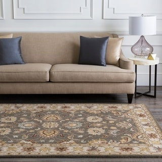 Hand-tufted Coliseum Wool Gray Traditional Border Wool Rug (2'6 x 8') with Free Rug Pad