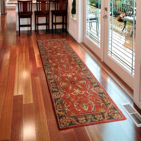 9 X 12 Nourison Nourmak Hand Knotted 100 Wool Persian: Hand-tufted Coliseum Rust Traditional Border Wool Rug (2'6