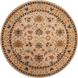Hand-tufted Traditional Coliseum Vanilla Floral Border Wool Rug (6' Round)