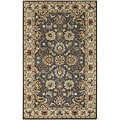 Hand-tufted Coliseum Gray Traditional Border Wool Rug (4' Round)