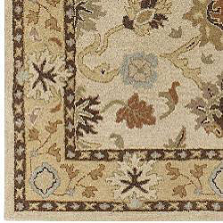 Hand-tufted Traditional Coliseum Vanilla Floral Border Wool Runner (3' x 12')