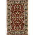 Hand-tufted Coliseum Rust Traditional Border Wool Rug (3' x 12')