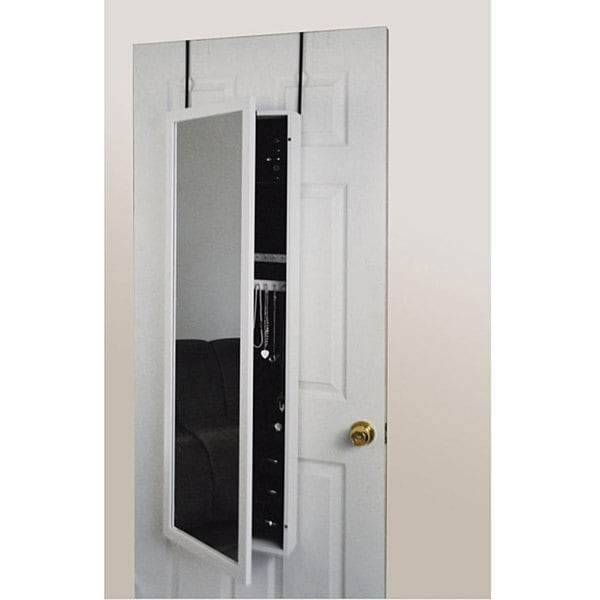 White Framed Wall or Door Jewelry Armoire Mirror