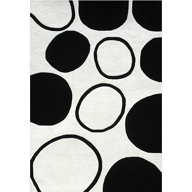 Hand-tufted Black Circle Wool Rug (6' x 9')