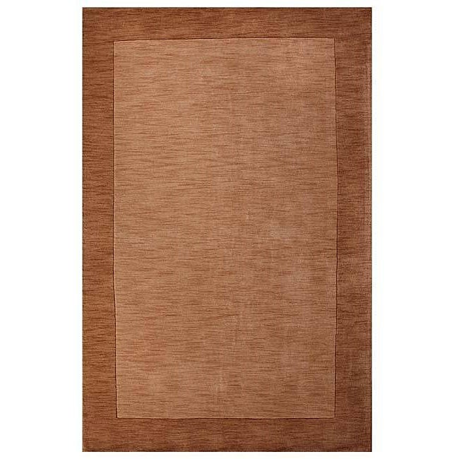 Hand-tufted Bordered Beige Wool Rug (6' x 9')