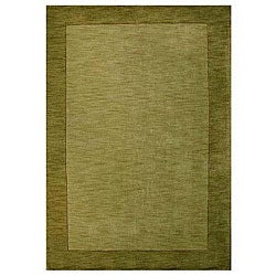Hand-tufted Bordered Green Wool Rug (6' x 9')