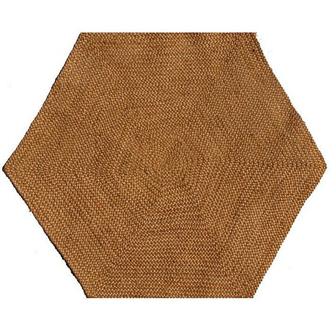 Hand Tufted Braided Jute Star Rug 8 Hexagon 12126294