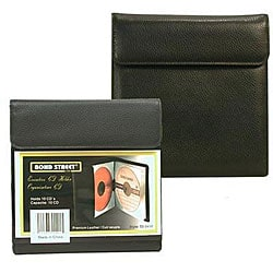 Premium Black Leather Portable CD/ DVD Holder