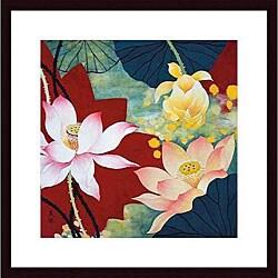Hong Mi Lim 'Lotus Dream II' Wood Framed Art Print