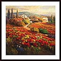 Roberto Lombardi 'Poppy Fields' Wood Framed Art Print