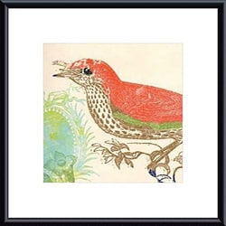Swan Papel 'Red Bird' Metal Framed Art Print