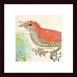 Swan Papel 'Red Bird' Wood Framed Art Print