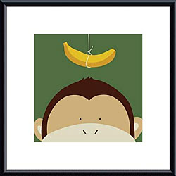 Yuko Lau 'Peek-a-Boo Monkey' Metal Framed Art Print